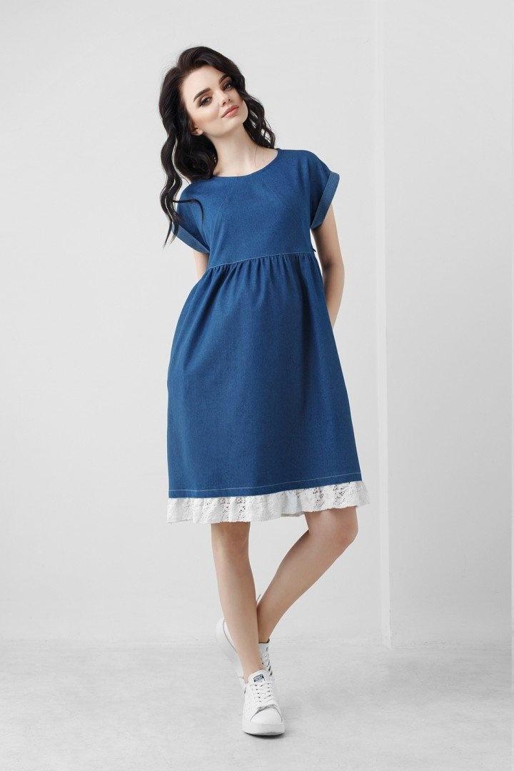 e272e831be2f Джинсовое платье для беременности и кормления с кружевом, синее, ТМ Dianora